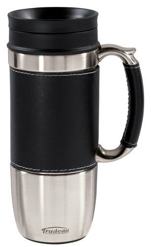 Trudeau Board Room 16-Ounce Travel Mug, Black