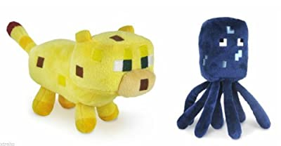 "Jazwares Set Of 2 Ocelot And Squid Minecraft Animal 7"" Plush Toy Doll by BAOBAO"