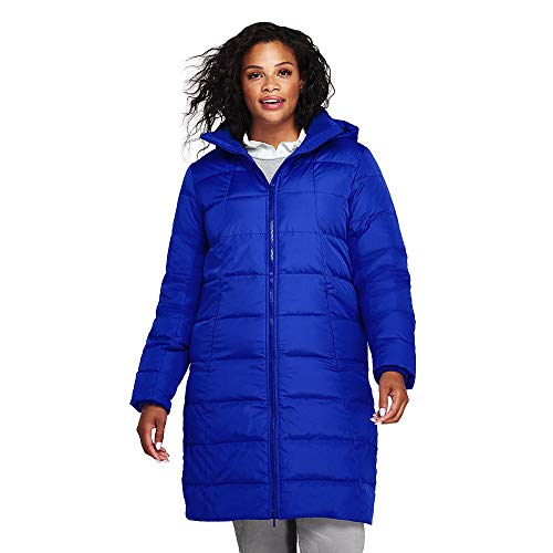 Lands' End Women's Plus Size Winter Long Down Coat, 1X, Electric Blue