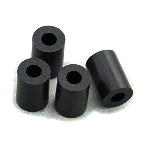 100PCS 10mm Black Nylon Round Spacer, OD 7mm, ID 3.2mm, Not Threaded, for M3 Screws, Plastic.