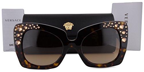 Red Lady In Gaga Glasses (Versace VE4308B Sunglasses Havana w/Brown Gradient Lens 10813 VE4308 For)