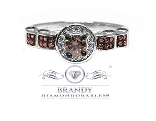 Brandy Diamondorables Chocolate Brown 14k White gold Silver Solitaire Halo Ring 2.00 Ctw. 14k White Gold Cz Rings