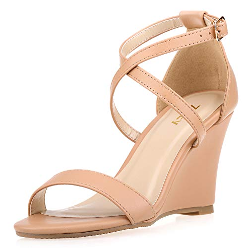 (ZriEy Women's Wedge Sandals Ankle Strap High Heels 3 Inches Open Toe Mid Heel Sandals Bridal Party Shoes Nude Size 6.5)