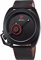 Mix&Rock Tawny Shark Series Crazy Horse Leather Strap Grey Date Display Watch Red