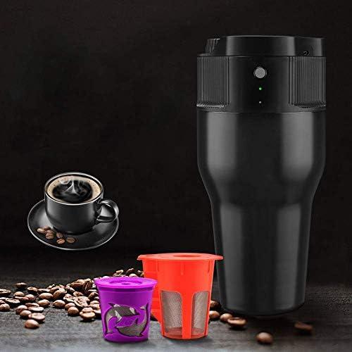 BIXUYAO Elektrische Tragbare Espressomaschine, 550 Ml Mini-Reise-Espressomaschine, USB-Ladekanne, EIN-Knopf-Elektrobetrieb Für Den Außenbereich, Büro, Zuhause,Black
