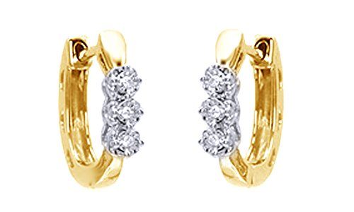3 Stone Hoop Earrings (Round Cut White Natural Diamond Accent Three Stone Hoop Earrings In 14K Yellow Gold Over Sterling Silver)