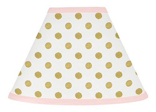 Sweet Jojo Designs Baby Girl Childrens Lamp Shade for Blush Pink White Damask and Gold Polka Dot Amelia Collection from Sweet Jojo Designs