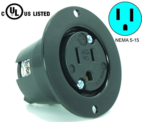 Journeyman-Pro 5279 15 Amp 120-125 Volt, NEMA 5-15 Flanged Outlet, Black Commercial Grade, 2 Pole-3 Wire, Straight Blade Plug Charger Receptacle (No Cover/Cap)