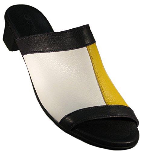 Arche Women's 'Obiska' Color Block Mule In Nocturne/Blanc/Mimosa (Navy/White/Yellow)
