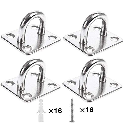 Heavy Duty Pad Eye Plate Staple Ring Hook LoopU-ShapedSail Shade Hardware - Wall Ceiling Hammock Hooks Hanger for Swing Suspension - Stainless Steel