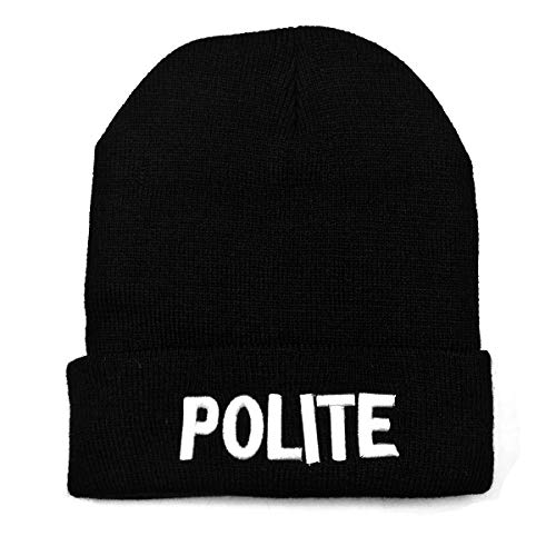NYKKOLA Unisex Slouchy Cuff Beanie Skull Knit Hat Cap - Winter Warm Black Polite Ski Hat and Snapback ()