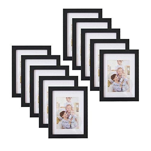 Giftgarden® 10er Holz Bilderrahmen Set MIT Passepartout 10x15, OHNE Passepartout 13x18, schwarz