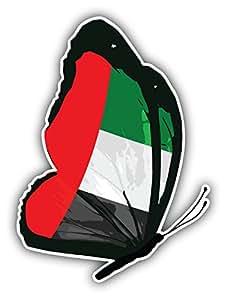 """Emiratos Árabes Unidos Bandera de mariposa arte decoración pegatina para 4""""x 5"""""""