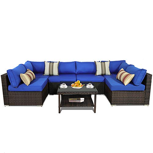 Outime Patio Furniture Brown Rattan Sofa Wicker 7pcs Sectional Sofa Set Family Party Sofa Conversation Set Garden Patio Sofa Cushioned -Easy Assembled(Royal Blue Cushions,7 Piece-A)