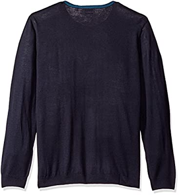 Calvin Klein Men's Merino Bridseye Plaid Crew Neck Sweater