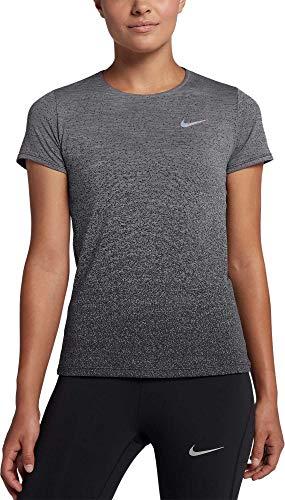 NIKE Women's Medalist Running Shirt (Gunsmoke/Black, Small)