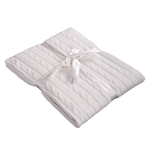 NTBAY 100% Cotton Cable Knit Toddler Blanket Throw Blanket Super Soft Warm Multi Color, 30x 40, White