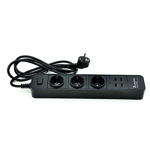 AUNORM Multifunktionale 3 Fach Steckdosenleiste mit Schalter und Kinderschutz, 4 USB-Anschlüsse, 1.8M Kabel Schwarz