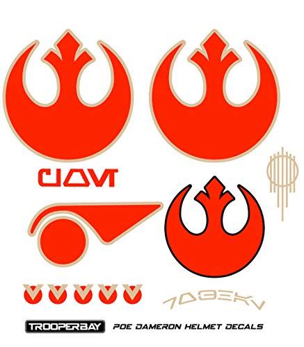 (Trooperbay Poe Dameron Resistance X-Wing Pilot Helmet Decals Stickers Disney Star Wars Armor The Last Jedi)
