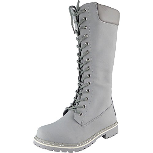 Grey Calf Boots Womens Loud Lace Low 3 New Look Winter Up Heel Size Flat Combat Mid 8 axxwgP7q5