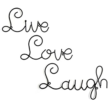 Amazon.com: Collections Etc Scrolling Live Laugh Love Metal Wall Art ...