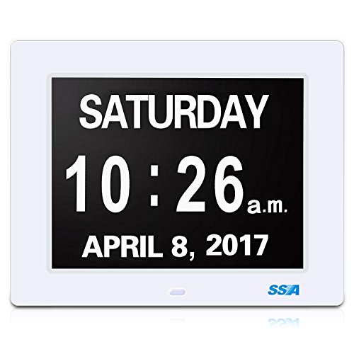 Digital Calendar Day Clock with Large Clear Time Day and Date display, Wall hanging or Desk/Shelf clock ideal for Impaired Vision & Memory Loss.