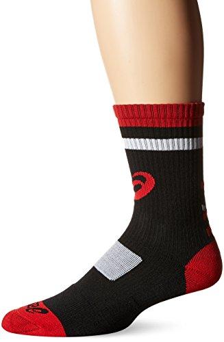 ASICS Unisex Craze Crew sock, Red/Black/White, Large ()
