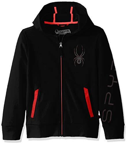 Spyder Boys' Big Double Knit Full Zip Hooded Logo Jacket, Black, XL18/20