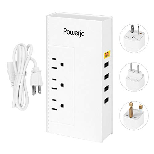 Powerjc Voltage Converter Universal 220V to 110V International Travel,4-Port USB Charging and AU/UK/US/EU Power Adapter White by Powerjc