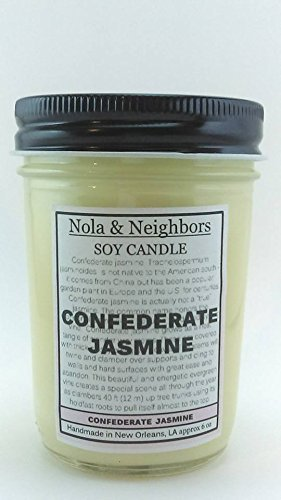 Confederate Jasmine scented soy candle - Floral Candle - Highly fragrant, long lasting pure soy candle handmade - Maximum fragrance load - 50+ hours of burn time