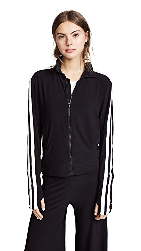Norma Kamali Women's Side Stripe Turtle Track Jacket, Black/Engineered Stripe, (East Side Jacket)