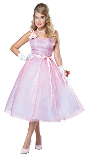 Prom Queen Halloween Dress (California Costumes Women's 50s Teen Angel, Pink/Blue,)
