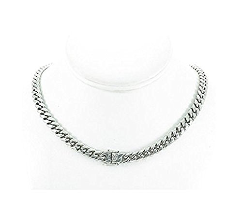 Solid Silver Finish Stainless Steel 8mm Thick Miami Cuban Link Chain Box Clasp Lock (Chain 24'')