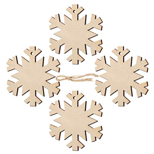 (30pcs Wooden Cutouts Christmas, Vankcp Environmentally Wood Hanging Snowflake Ornaments with Ropes for Embellishments, Parties, DIY, Craft, Festival)