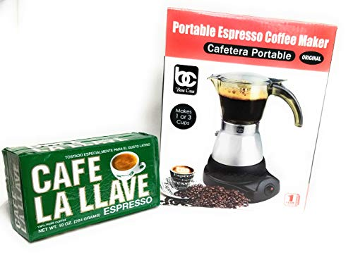 Bene Casa Espresso Coffee Maker, 3 Cup. Bonus Pack of Espresso Roasted Coffee Cafe La Llave 10oz