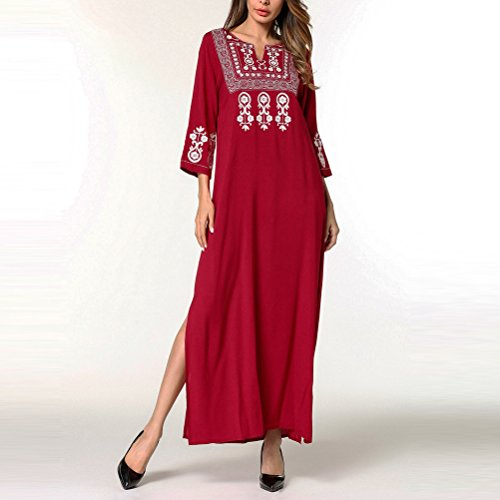 Coton Kaftans Red de Longueur Pleine Femmes Nuit pour Nuit Moderne Robes Duba de Zhhlinyuan Vtements Nuit Chemise Ladies Abaya Vtements de EXqw0cR