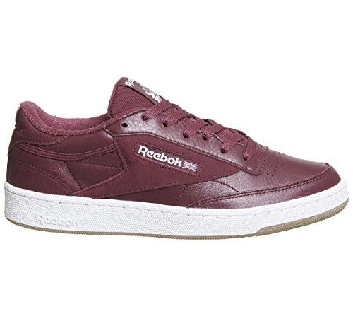 Reebok Club C 85 Estl, Scarpe da Tennis Uomo Rosso (Urban Maroon/White/Washed Blue/Gum 000)