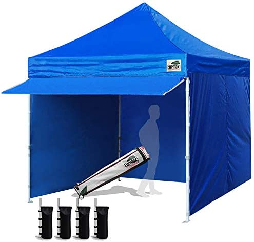 Eurmax 10 x 10 Pop up Canopy Commercial Tent Outdoor Party Canopies with 4 Removable Zippered Sidewalls and Roller Bag Bonus 4 Canopy Sand Bags 24 Squre Ft Extended Awning Blue