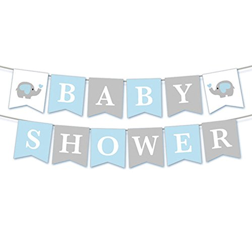Leedemore Elephant Baby Shower Banner,Cute Blue Elephant Baby Shower Banner Party Supplies Decoration]()