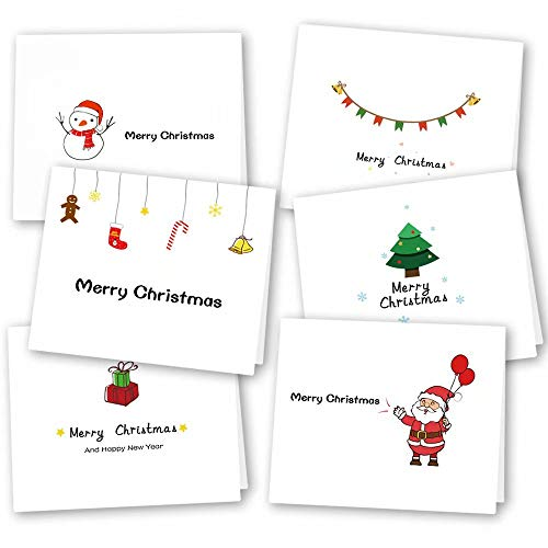 KUUQA 36 Pieces 6 Designs Christmas Greeting Note Cards with Envelopes and Stickers,Christmas Party Decoration Favors