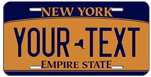 Personalized Blue Orange New York Personalized Novelty Front License Plate Decorative Vanity Aluminum Car Tag Sign 4 Holes (12