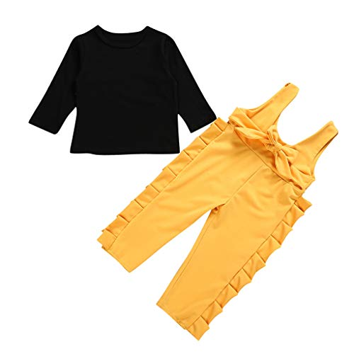- kaiCran Toddler Baby Girls Outfits Sets Long Sleeve T-Shirt Top + Frilled Bib Pants Fashion Solid Clothes (Black, 110(2-3 Years))