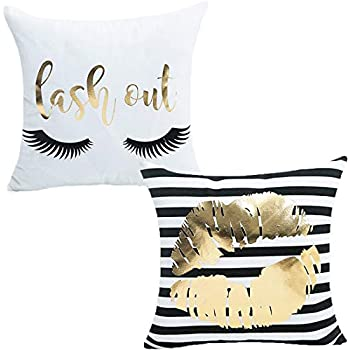 misaya Bronzing Flannelette Home Pillowcase 18x18 Decorative Cushion Cover Eyelashes Letters Lash Out & Black Striped Gold Lips Throw Pillow Covers Set of 2