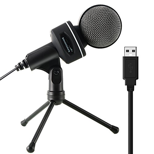 USB Microphone, SOONHUA Condenser Microphone with Tripod Desktop Microphone for PC Professional Microphone for Studio Recording, Podcasting, Youtube