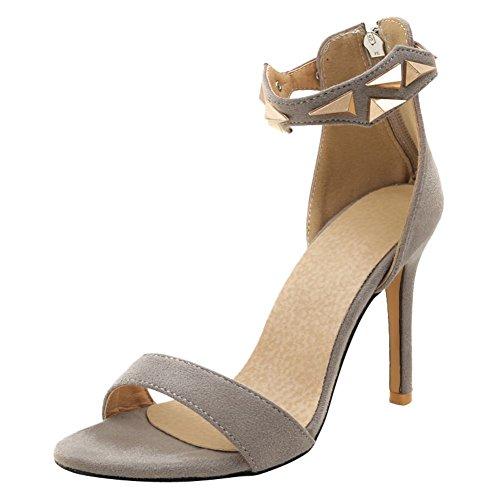 Mee Shoes Damen Stiletto Reißverschluss Open Toe Sandaletten Grau