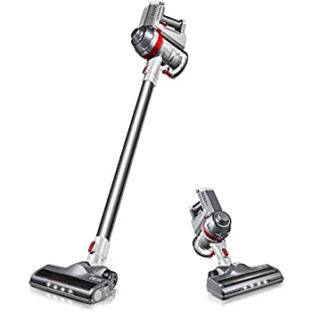 Deik Cordless Vacuum Cleaner, 2 in 1 Stick Handheld Vacuum with Powerful Suction & LED Brush for Home and Car Cleaning - Silver