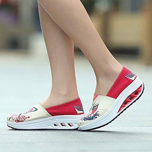 Para Otoño Cuña Con Primavera Zapatos Combinan Ocasionales Que Ysfu Deporte De Aire El Color Colchón Zapatillas Deportivos Mujer Lienzo Y qBat0w