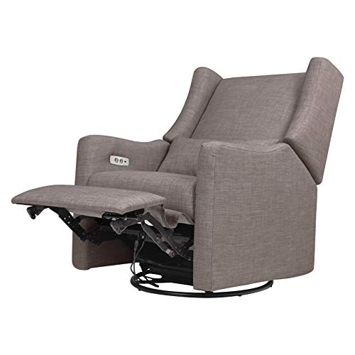 41VMpk9qbmL - Babyletto Kiwi Electronic Power Recliner And Swivel Glider With USB Port In Grey Tweed, Greenguard Gold Certified