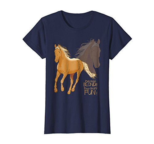 Womens Palomino Horse T Shirt - Because Blonde Have More Fun Shirt XL Navy