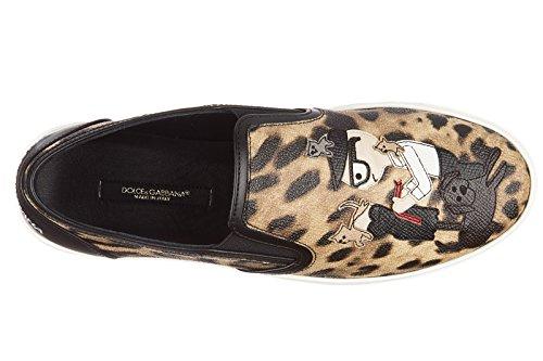 Dolce&Gabbana slip on en piel mujer nuevo crespo leo beige Beige